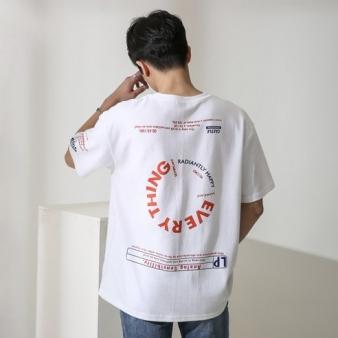 단군 남성용 에브리띵 그래픽 나염 오버핏 반팔 티셔츠